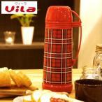 魔法瓶 450ml Vila ヴィーラ ガラス製 コップ付き 赤チェック M ( 卓上ポット 保温 保冷 )