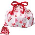 ■在庫限り・入荷なし■お弁当袋 HAKOYA 布貼らんち 舞い桜 巾着袋 ( 和柄 和モダン 弁当包み )