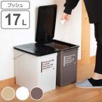 Yahoo!インテリアパレットヤフー店ゴミ箱 ダストボックス プッシュダスト カフェスタイル 浅型 ごみ箱 ふた付き 17L