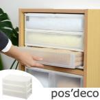収納ケース ポスデコ ワイドサイズ 浅型3段 カラーボックス用 ( 収納ボックス カラーボックス インナーボックス )