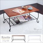 アンティーク風 テーブル ローテーブル リビングテーブル テーブル ロートアイアン 木製  ロマンチック 姫 クラシック  長方形 レトロ おしゃれ