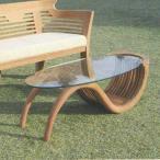 ジャービス商事 TEAK GLASS TABLE (NO PAINTED) チークガラステーブル(無塗装) チーク 無塗装 36345 1台