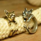 フレンチブルドッグ (フレブル) 犬のリング (指輪) アンティーク テイスト フリー サイズ メンズ レディース メール便