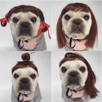 犬用 カツラ かつら ウィッグ 女の子用 おさげ キャップ(帽子変身 かぶりもの)