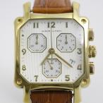 ハミルトン ロイド クロノグラフ クォーツ メンズ 腕時計 ゴールドGP 白文字盤 社外ベルト 6318【いおき質店】
