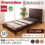フランスベッド 電動ベッド(GR-01F) 1モーターフレーム フレームのみ セミダブル 背上げと脚上げが同時動作 電動リクライニングベッド 木製ベッド grandy 脚付き