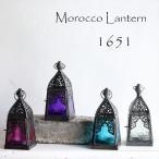 モロッコランタン・キャンドルホルダー 高さ16cm オリエンタルランプ4面のレリーフガラス Morocco Lantern Candle holder