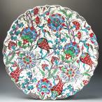 繊細な手描きのトルコ キュタフヤ陶器 飾り皿 プレート 工芸品 民芸品 トルコ雑貨 トルコ キュターヤ陶器 手描き絵皿オットマンクラシック 45cmプレート