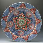 繊細な手描きのトルコ・キュタフヤ陶器 飾り皿 プレート 工芸品 民芸品 トルコ雑貨 トルコ・キュターヤ陶器 手描き絵皿アラベスク 40cmプレート