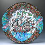 繊細な手描きのトルコ キュタフヤ陶器 飾り皿 プレート 工芸品 民芸品 トルコ雑貨 トルコ キュターヤ陶器 手描き絵皿ミュージアムピース 40cmプレート