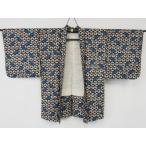 アンティーク 銘仙 羽織 シックな 葉模様の 絣織り  リサイクル着物 彩 irodori