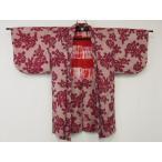 アンティーク 銘仙 羽織 女性らしい 花模様の 絣織り  リサイクル着物 彩 irodori
