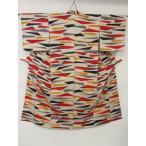 アンティーク 銘仙 粋な印象 抽象的な模様の 絣織り リサイクル着物 彩 irodori
