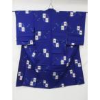 アンティーク 銘仙 丸や四角の 抽象的な 絣模様 リサイクル着物 彩 irodori
