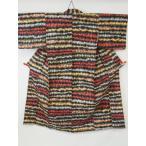 アンティーク 銘仙 抽象的な 横縞模様の 絣織り リサイクル着物 彩 irodori