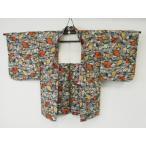 アンティーク 銘仙 羽織 楓や 葉模様の 絣織 リサイクル着物 彩 irodori