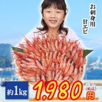 刺身用甘エビ 約1kg(約50〜60尾)