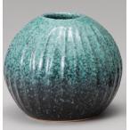 緑釉立線花瓶信楽焼 陶器 花器 花入 花瓶