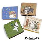 1年保証 マンハッタナーズ 財布 二つ折財布 ファンシーパース 猫 刺繍 レディース manhattaner's 075-7482