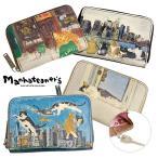 マンハッタナーズ manhattaner's 牛革プリント トップパース キー コイン カードケース レディース 075-1011 ブランド 本革 猫柄