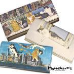 ショッピングマンハッタナーズ マンハッタナーズ manhattaner's 牛革プリント トップパース かぶせ 長財布 レディース 075-1015 ブランド 本革 猫 ネコ 猫柄
