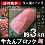 牛タン 仙台 ブロック 約3kg タン元規格 ムキタン 厚切り 業務用 焼肉 BBQ バーベキュー 送料無料