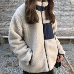 ジャケット レディース ブルゾン ボア アウター 長袖 ゆったり もこもこコート カジュアル 秋 冬 ボアジャケット ハイネック フロントZIP 中綿ジャケット