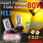 ショッピングLED LEDバルブ フォグランプ H11 イエロー/アンバー PHILIPSチップ搭載 80W ハイパワー  超爆光 24V車対応 送料無料