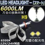 ショッピングLED LEDヘッドライト H9 ファンレスリボン CREE社製 キャンセラー内蔵 6000LM/6500K 超高輝度 12V/24V対応 18ヶ月保証