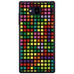 Qua phone QX KYV42・DIGNO V ケース カバー テトリス ブロック ブラックマルチ