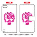 ショッピングpod iPod touch 第5世代 手帳型ケース 手帳カバー ペイズリー柄 スカル Paisley skull ピンク