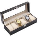 其它 - 腕時計6本収納ケースBOX レザー調 インテリア ディスプレイ ET-TOKEI-BOX-6
