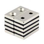 強力マグネット 角型 ネオジウム磁石 長方形N50磁石 皿穴付きマグネット ネオジウム 40 × 20× 5mm 両穴:5mm 5個セット ET-NMG-047