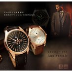 Anniversair 高級感 レザー 腕時計 ディテール 防滴 文字盤 ブラック ホワイト 大人 記念日 贈り物 ウォッチ KZ-ANIVAUDE 予約