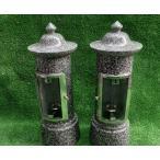 青御影石 燈明灯一 対(二本) 灯篭 設置用資材付き