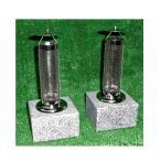 お墓 ローソク立 ステンレス 傘付 耐熱強化 ガラス 御影石 台座 設置用資材付き 一対