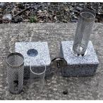 お墓ローソク立て国産 ステンレスロウソク立 耐熱強化ガラス仕上げ 御影石台座、設置用資材付き一対(二本)