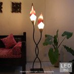フロアライト フロアスタンドライト アジアン 照明器具 LED対応 おしゃれ 間接照明 リビング 寝室 モダン バリ 北欧 和風 和室/ココスタンドダブル