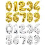 送料120円 誕生日 バルーン 数字 ナンバーバルーン 40cm ゴールド シルバー  風船 プレゼント