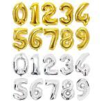 送料無料 誕生日 バルーン 数字 ナンバーバルーン 40cm ゴールド シルバー  風船 プレゼント