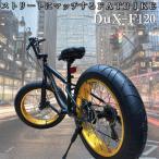 ファットバイク 7変速 20インチ 迫力の極太 Wディスクブレーキ 3D立体フレーム Shimno7SPEED 20x4.1/4 FATBIKE SNOWBIKE DuXデュークスF120