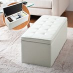 NEO-SNCBOX2W 輸入品 収納スツール ボックススツール ワイド ホワイト