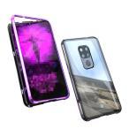 Huawei Mate 20X ケース/カバー アルミ バンパー クリア 透明 強化ガラス 背面パネル付き かっこいい マグネット装着 ファーウェイ メイト 20X メタル