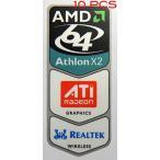 コンピュータ  デスクトップ 部品 10 Pieces of Original AMD 64 Athlon X2 / ATI / Realtek Wireless Sticker [218x10] 正規輸入品