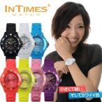 腕時計 レディース キッズ INTIMES インタイムス 子供 軽量 かわいい 36mm シリコン 選べる7色 ペア 家族 シチズン製ムーブ