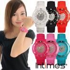 腕時計 レディース キッズ INTIMES インタイムス 子供 スワロフスキー かわいい キラキラ ハート ダイバー シリコンベルト 選べる6色 シチズン製ムーブ