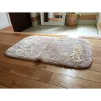 風水 玄関マット 天然素材 コットン綿100% 室内 洗える 50×80cm アラベスク模様 色:ベージュ