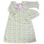 【未熟児】【低出生体重児】【早産児】用 ベビー服:フローラルガウン 帽子付き