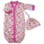 【未熟児】【低出生体重児】【早産児】【NICU】用 ベビー服:長袖ガウン ピンクガーデン 帽子付き