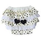 日本製!ベビーフリルブルマ|フェミニンドット ホワイト|Free|6カ月〜3歳|パンツ・ムームー・子供服・出産・祝い・ギフト